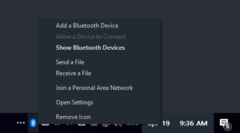 Quick connect bluetooth devices in windows